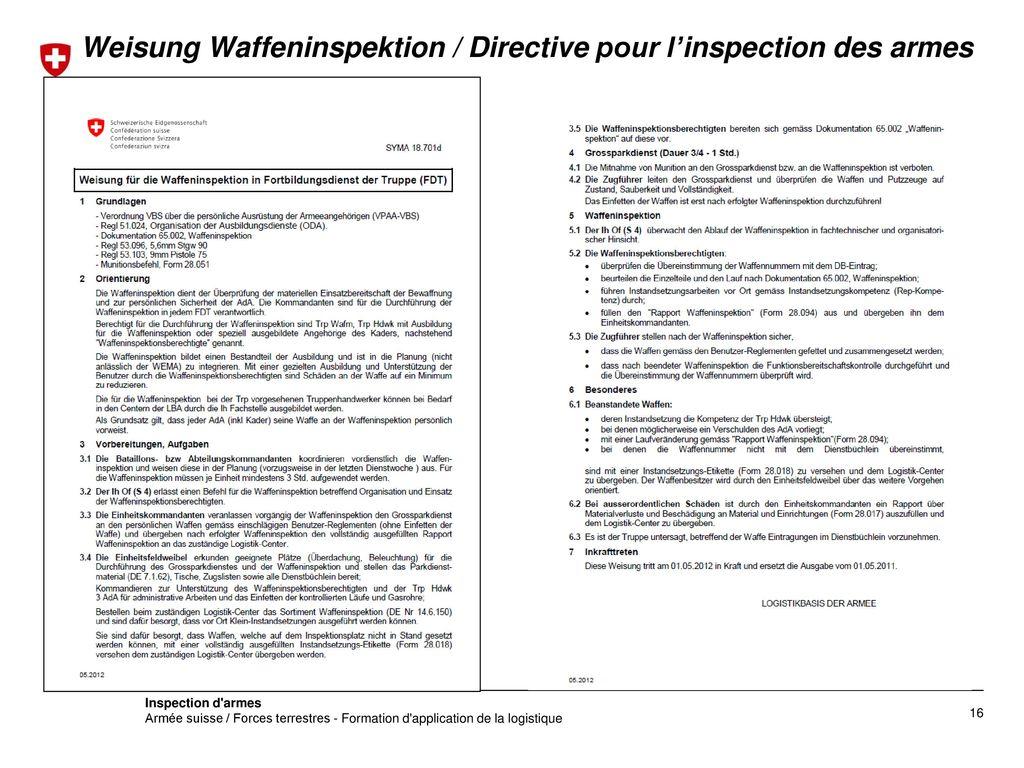 Weisung Waffeninspektion / Directive pour l'inspection des armes