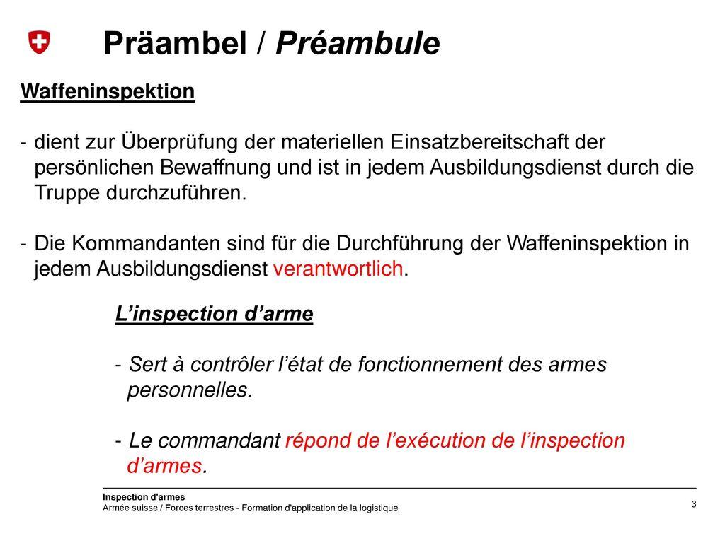 Präambel / Préambule Waffeninspektion