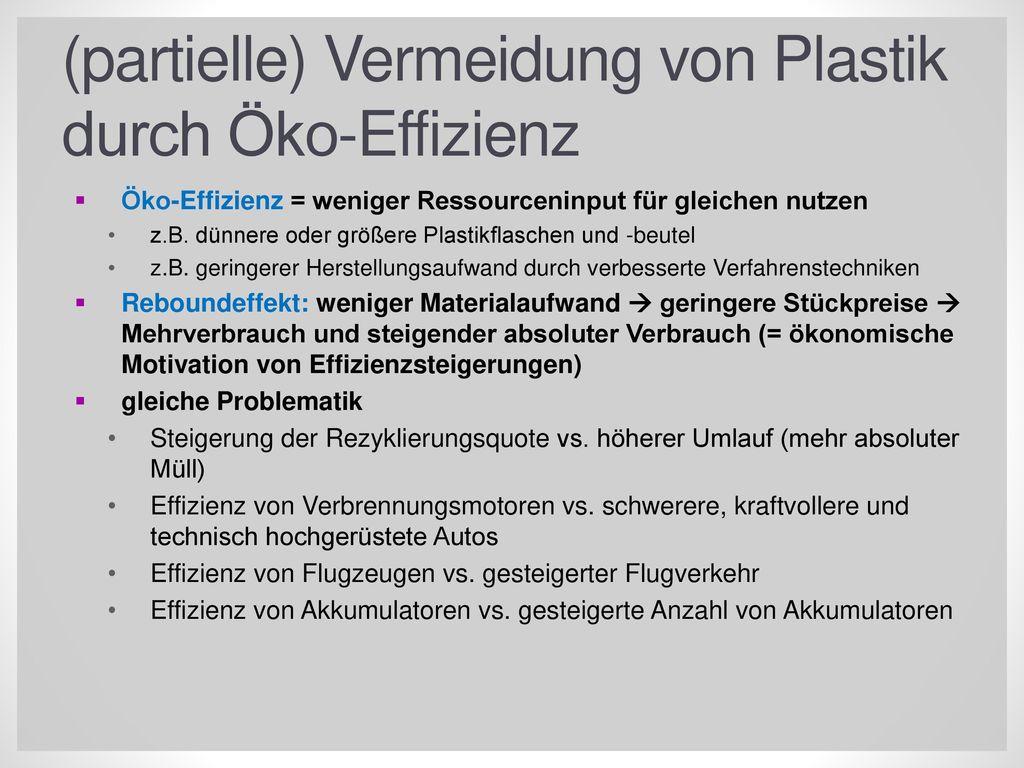 (partielle) Vermeidung von Plastik durch Öko-Effizienz