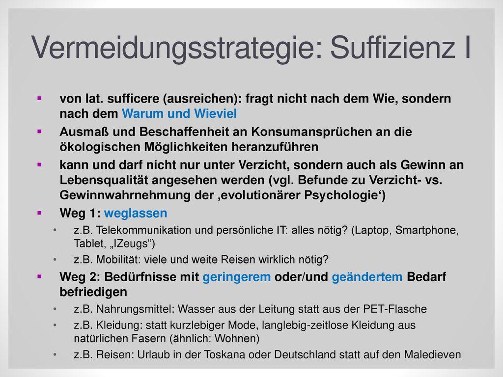Vermeidungsstrategie: Suffizienz I