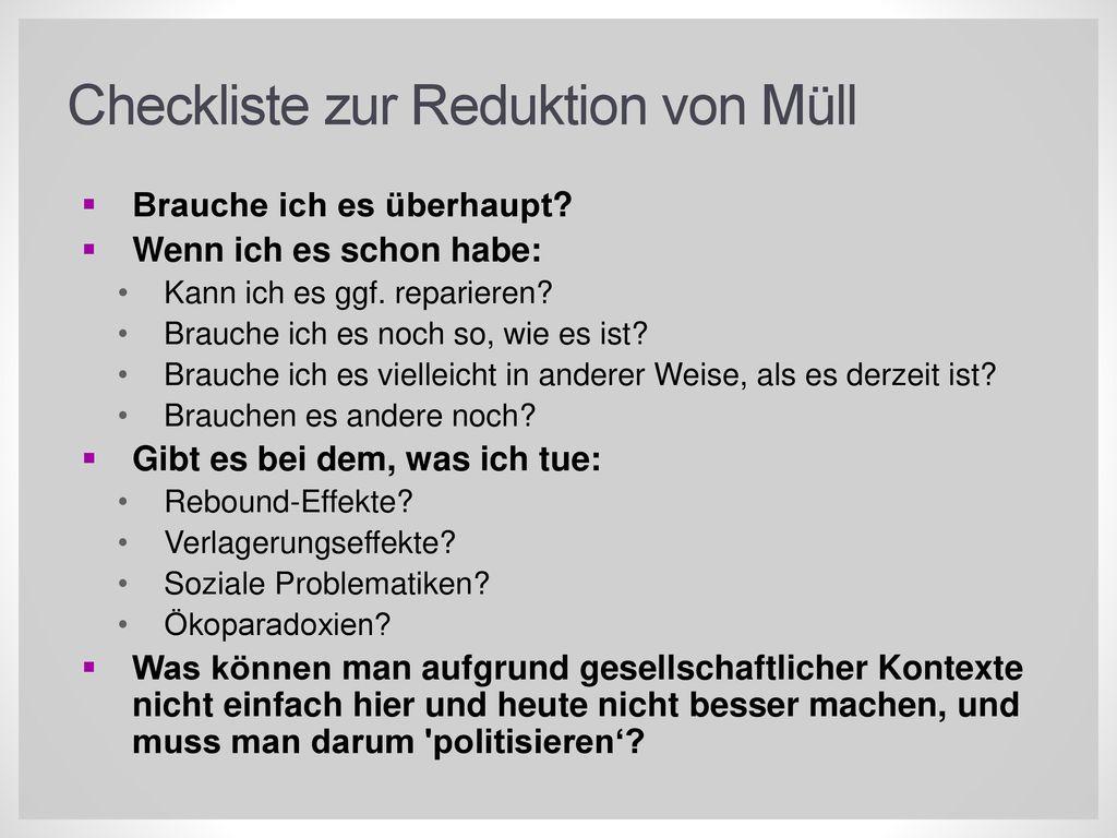 Checkliste zur Reduktion von Müll