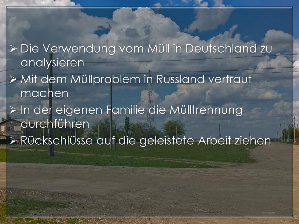 Die Verwendung vom Müll in Deutschland zu analysieren