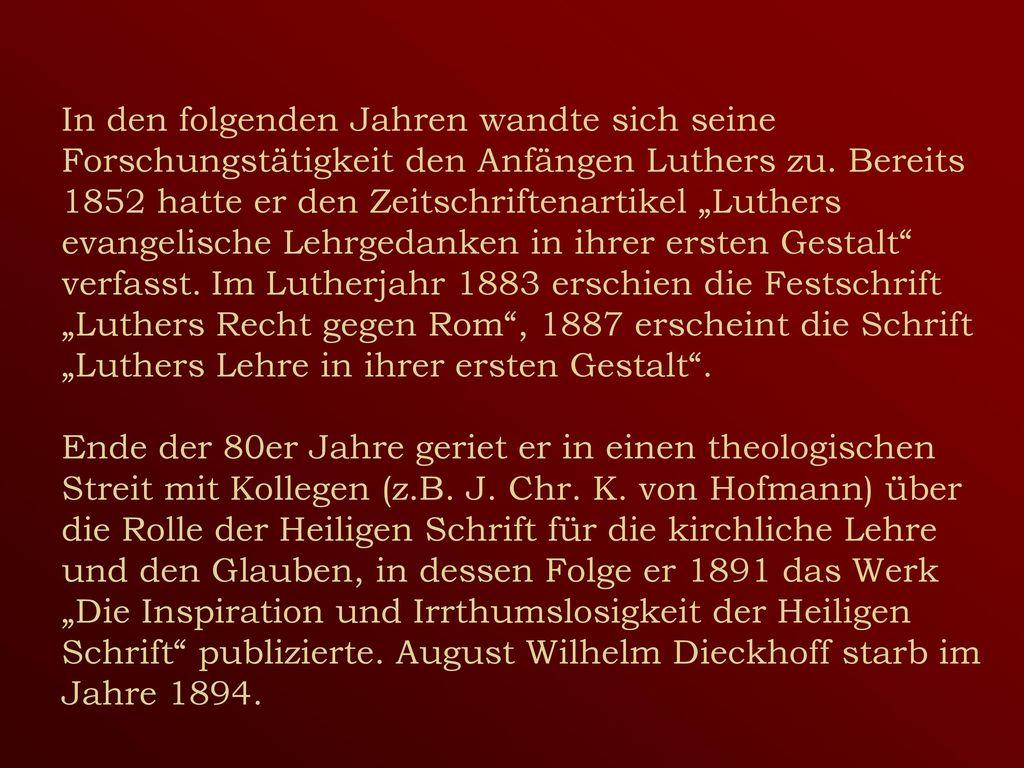 In den folgenden Jahren wandte sich seine Forschungstätigkeit den Anfängen Luthers zu.