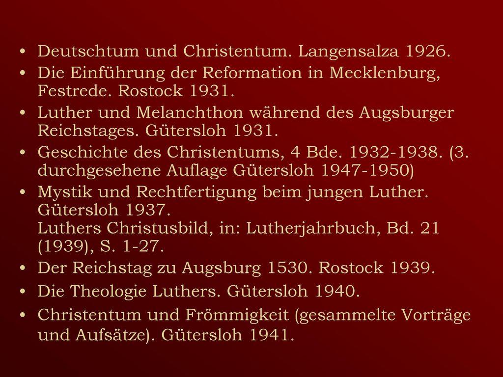 Deutschtum und Christentum. Langensalza 1926.