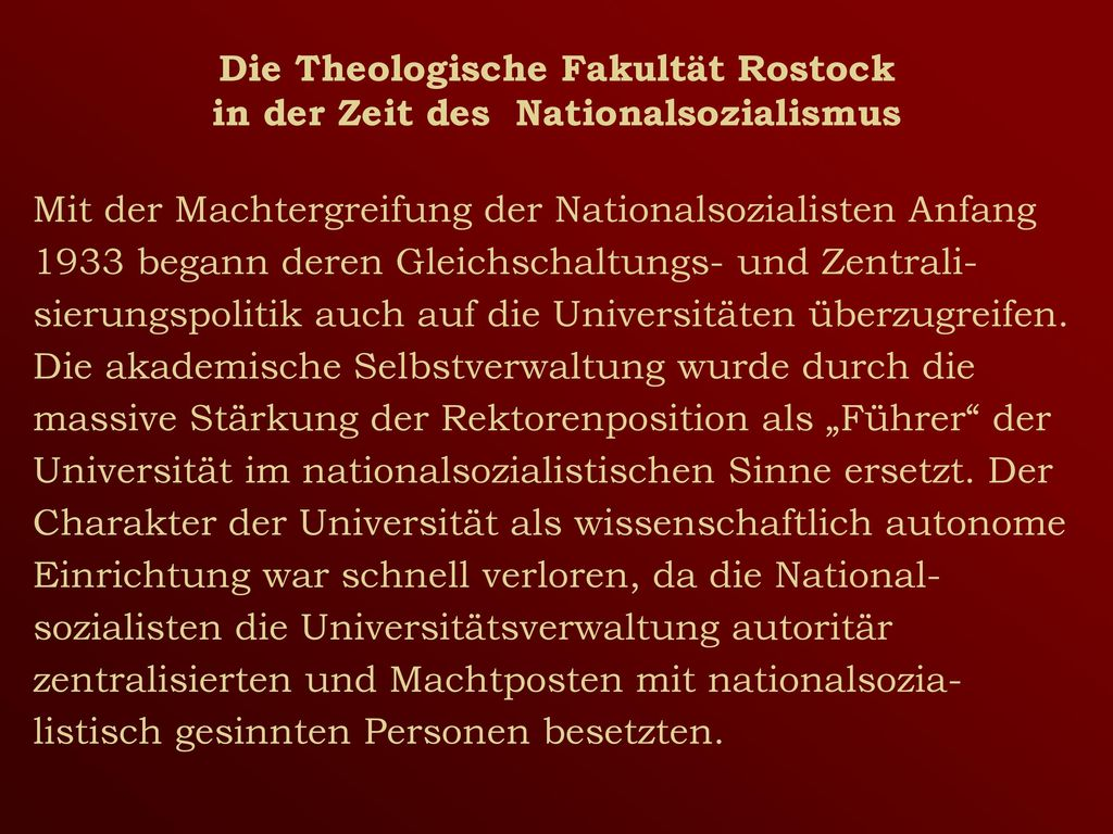 Die Theologische Fakultät Rostock in der Zeit des Nationalsozialismus