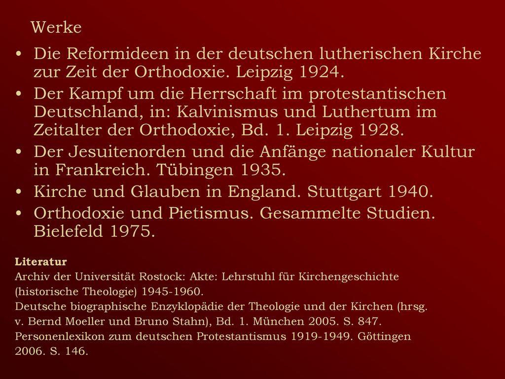 Kirche und Glauben in England. Stuttgart 1940.