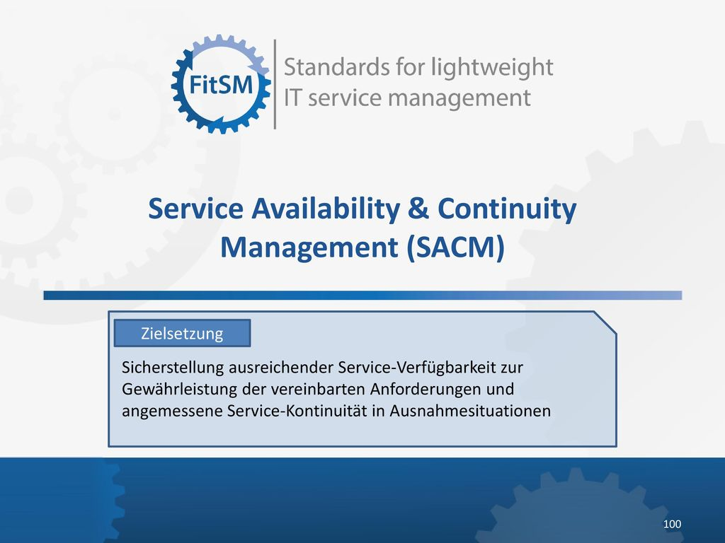 Service Availability & Continuity Management (SACM)