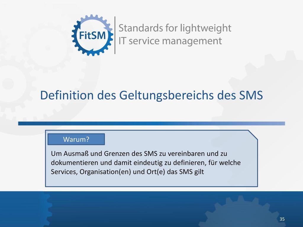 Definition des Geltungsbereichs des SMS