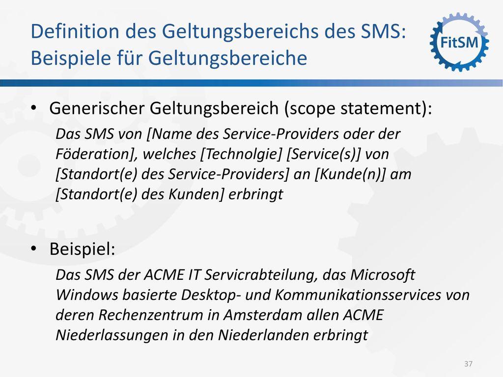 Definition des Geltungsbereichs des SMS: Beispiele für Geltungsbereiche