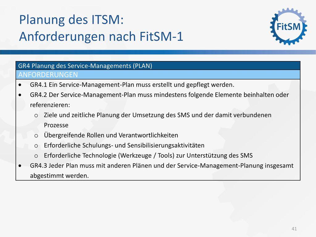 Planung des ITSM: Anforderungen nach FitSM-1