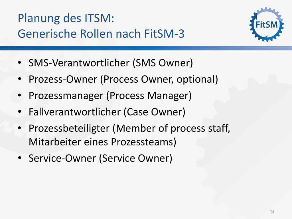 Planung des ITSM: Generische Rollen nach FitSM-3
