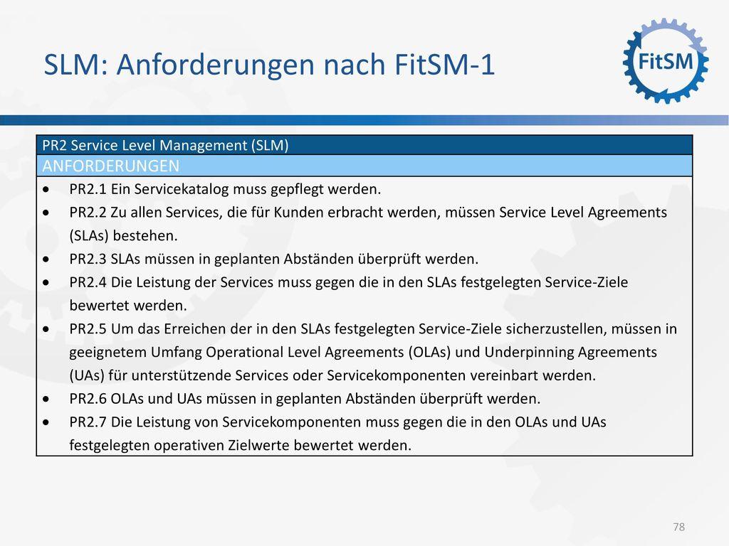 SLM: Anforderungen nach FitSM-1