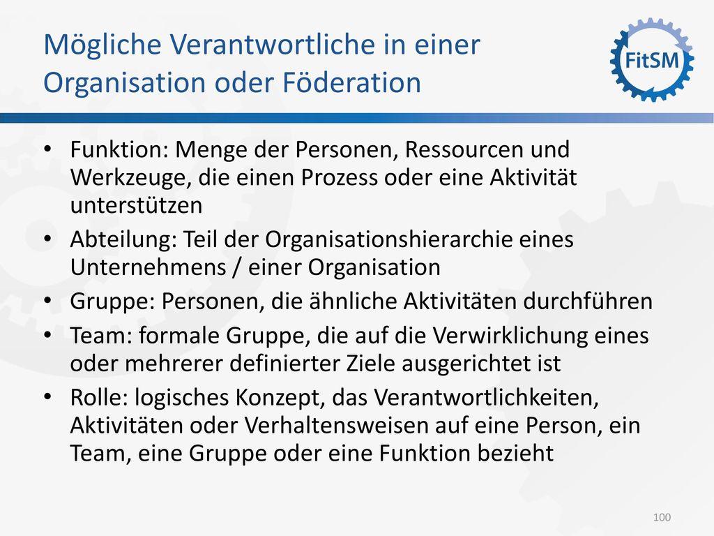 Mögliche Verantwortliche in einer Organisation oder Föderation