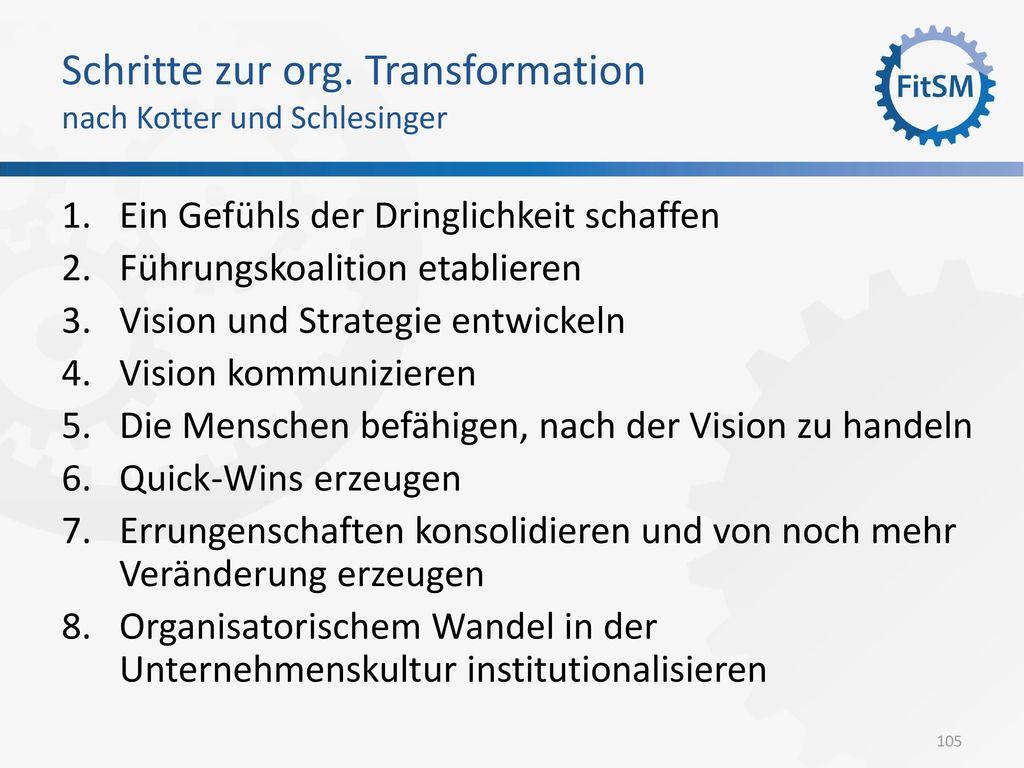 Schritte zur org. Transformation nach Kotter und Schlesinger