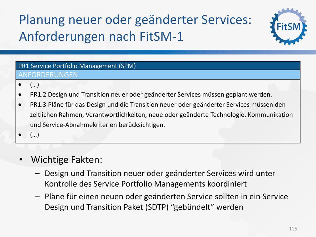 Planung neuer oder geänderter Services: Anforderungen nach FitSM-1
