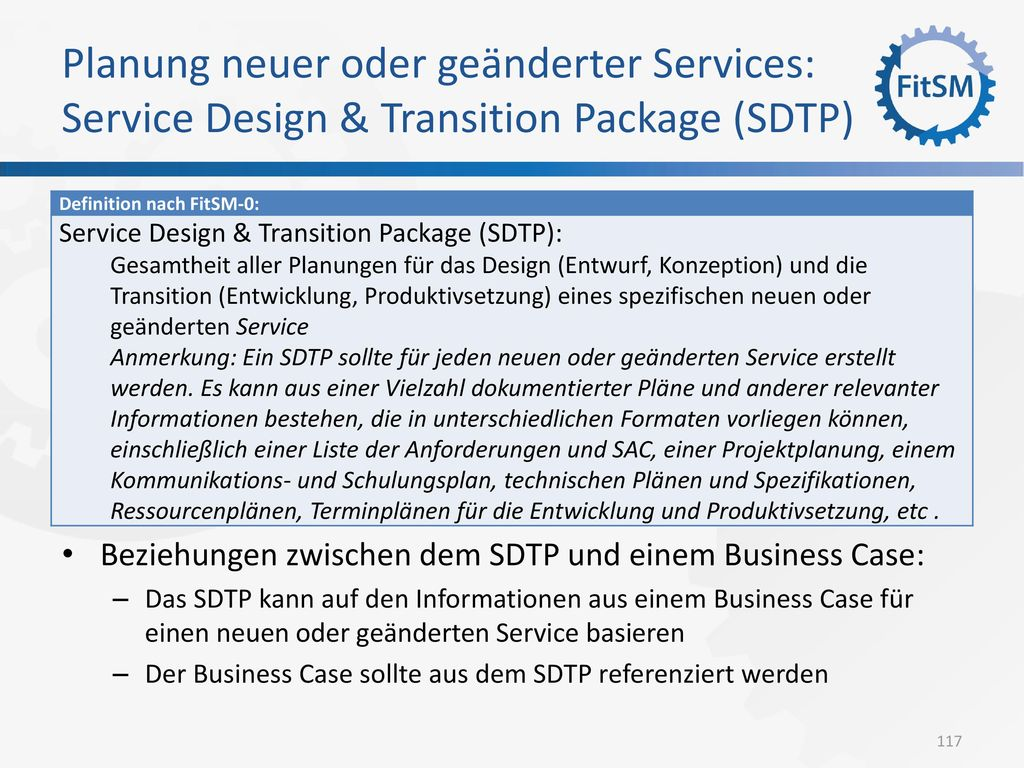 Planung neuer oder geänderter Services: Service Design & Transition Package (SDTP)