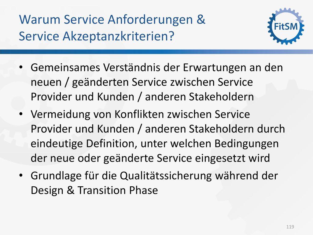 Warum Service Anforderungen & Service Akzeptanzkriterien