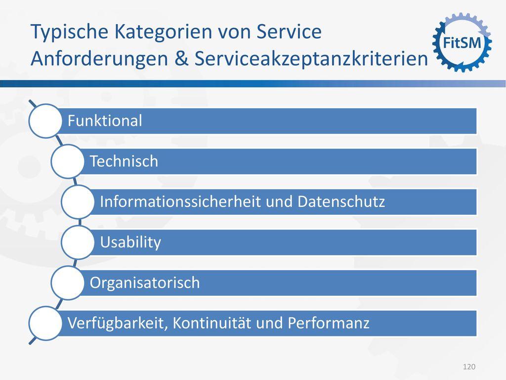 Typische Kategorien von Service Anforderungen & Serviceakzeptanzkriterien