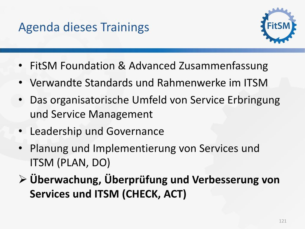 Agenda dieses Trainings