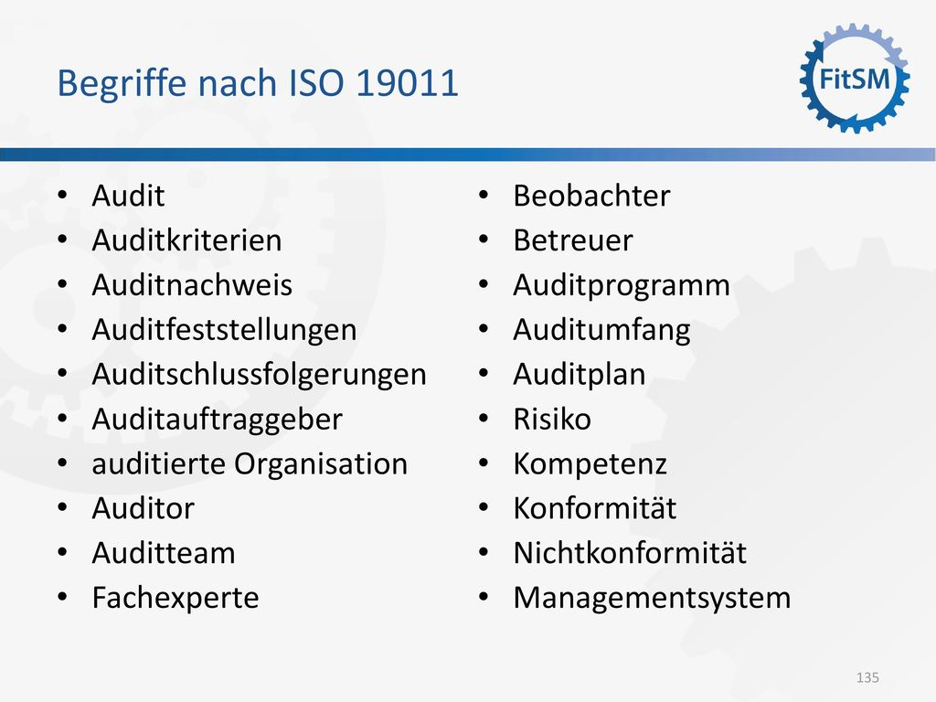 Begriffe nach ISO 19011 Audit Auditkriterien Auditnachweis