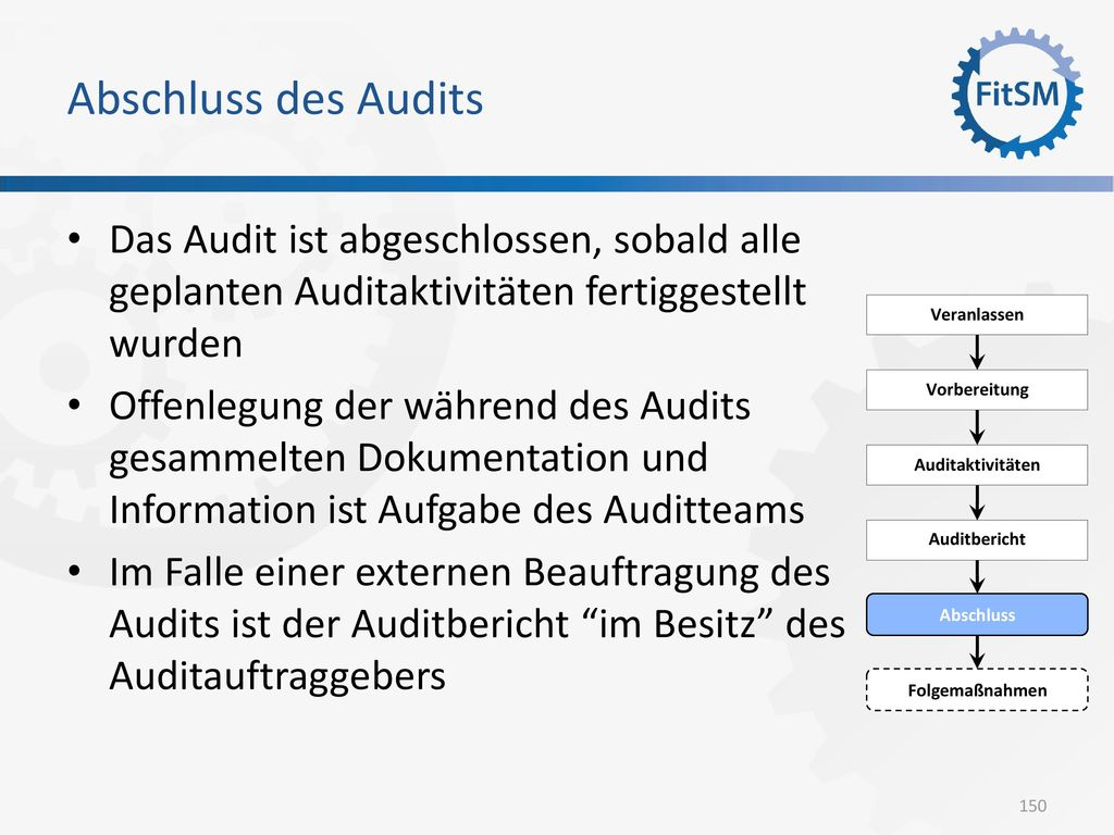 Abschluss des Audits Das Audit ist abgeschlossen, sobald alle geplanten Auditaktivitäten fertiggestellt wurden.