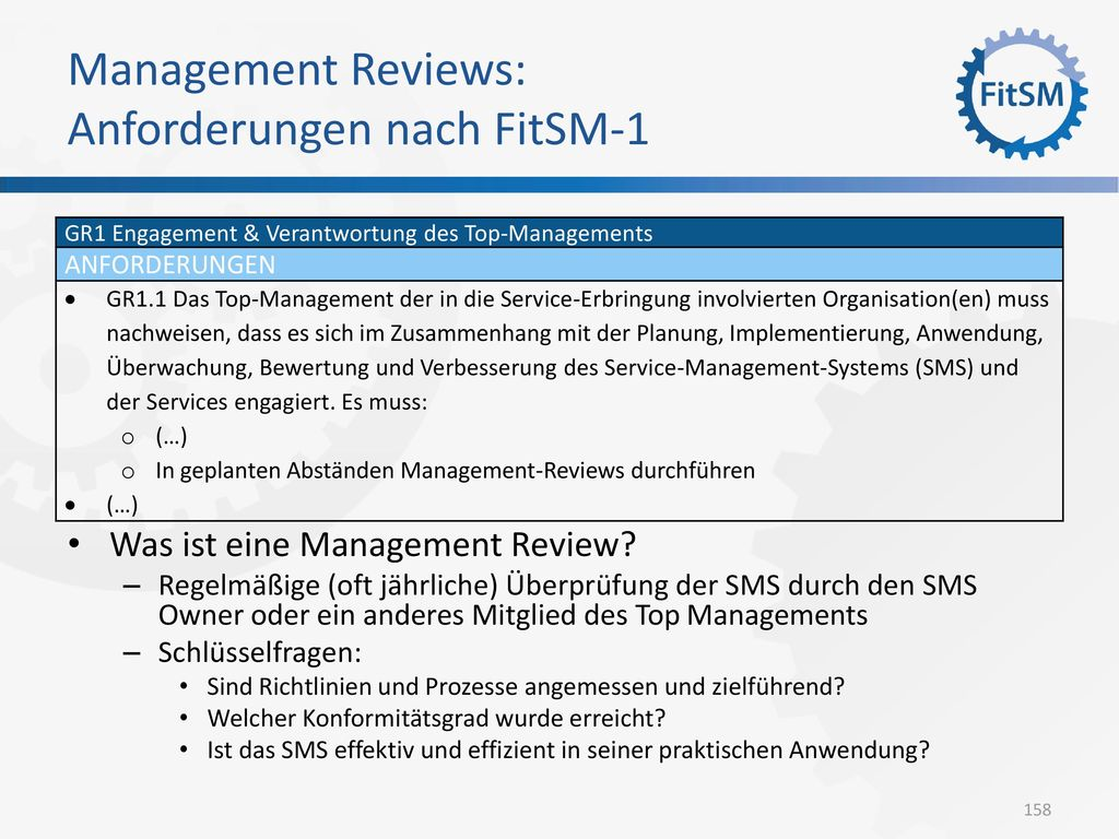 Management Reviews: Anforderungen nach FitSM-1