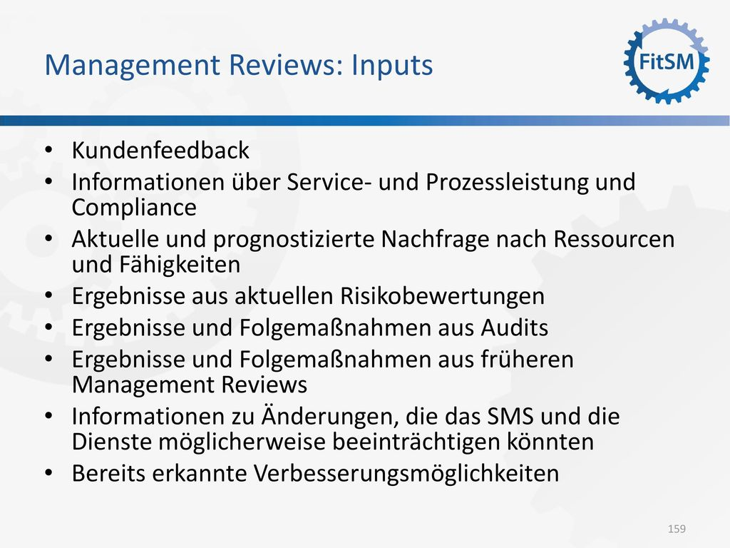 Management Reviews: Inputs