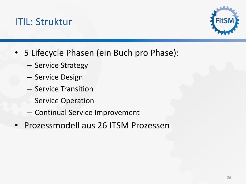 ITIL: Struktur 5 Lifecycle Phasen (ein Buch pro Phase):