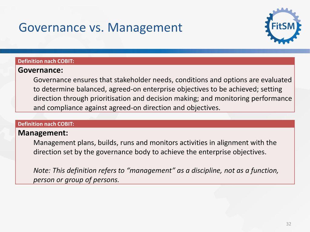 Governance vs. Management