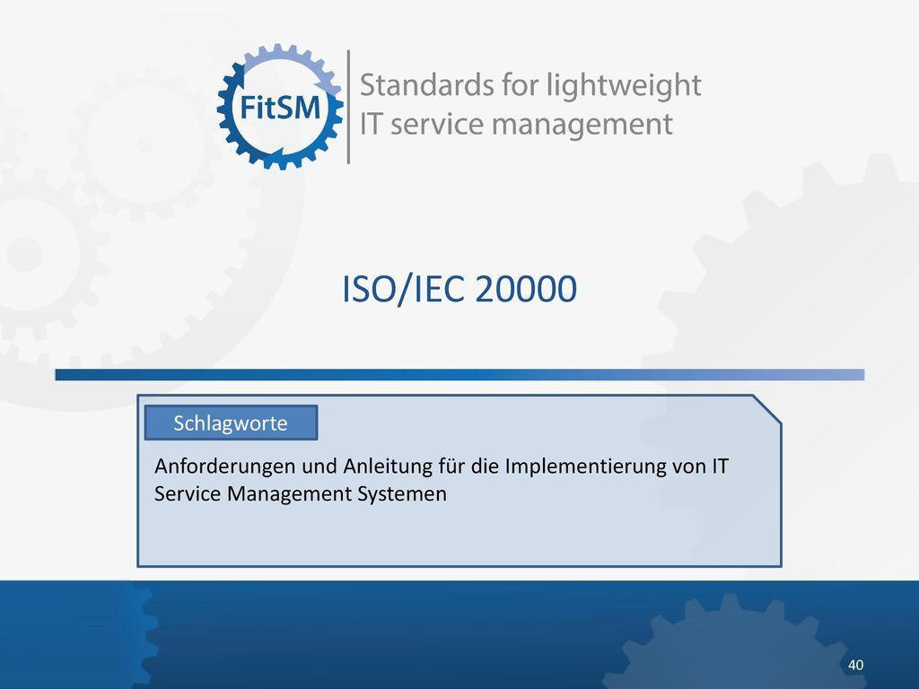 ISO/IEC 20000 Schlagworte.