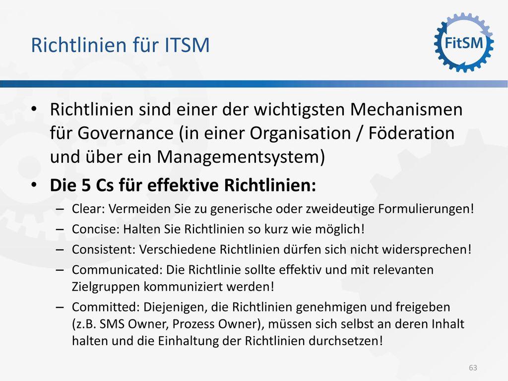 Richtlinien für ITSM