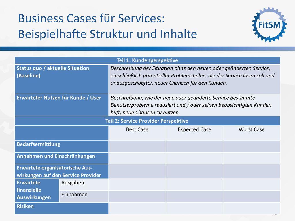 Business Cases für Services: Beispielhafte Struktur und Inhalte