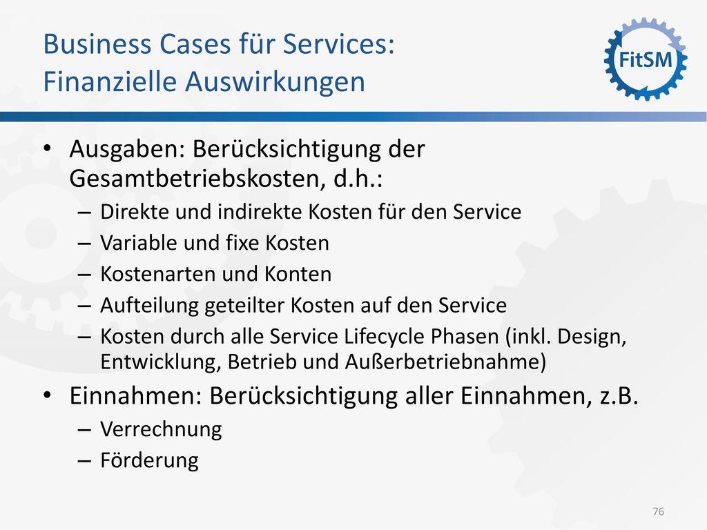 Business Cases für Services: Finanzielle Auswirkungen