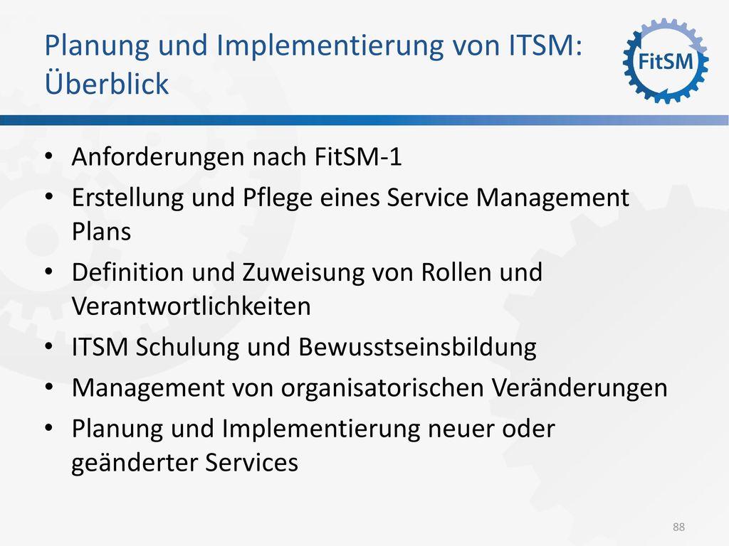 Planung und Implementierung von ITSM: Überblick
