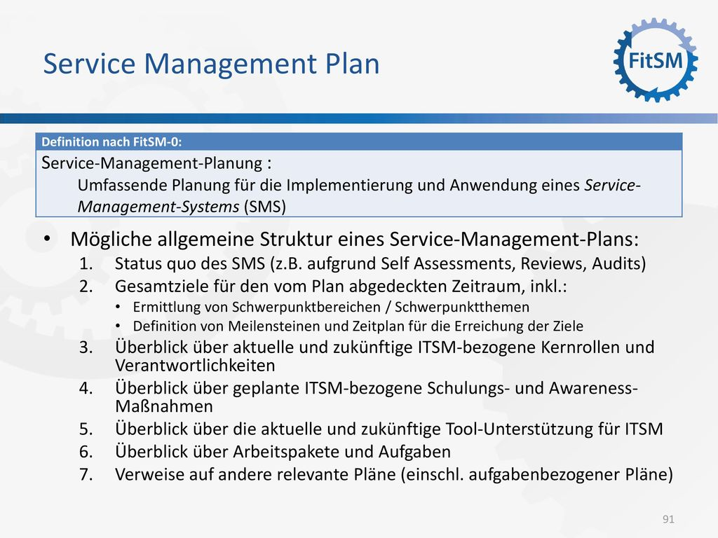 Service Management Plan