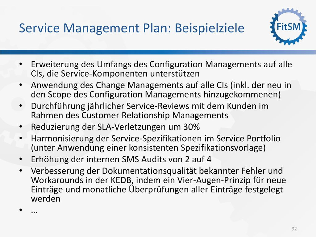 Service Management Plan: Beispielziele