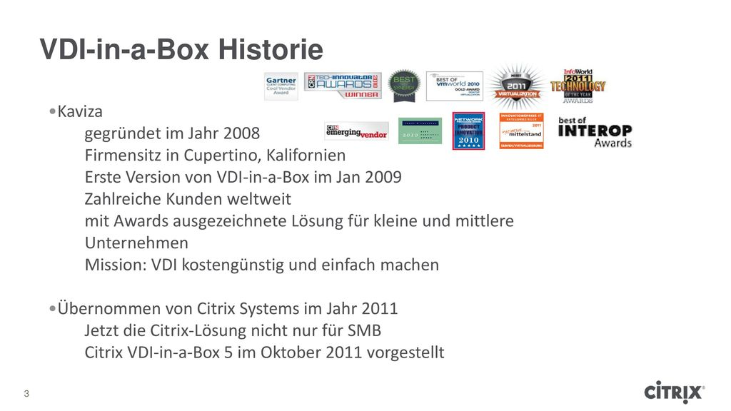 VDI-in-a-Box Historie