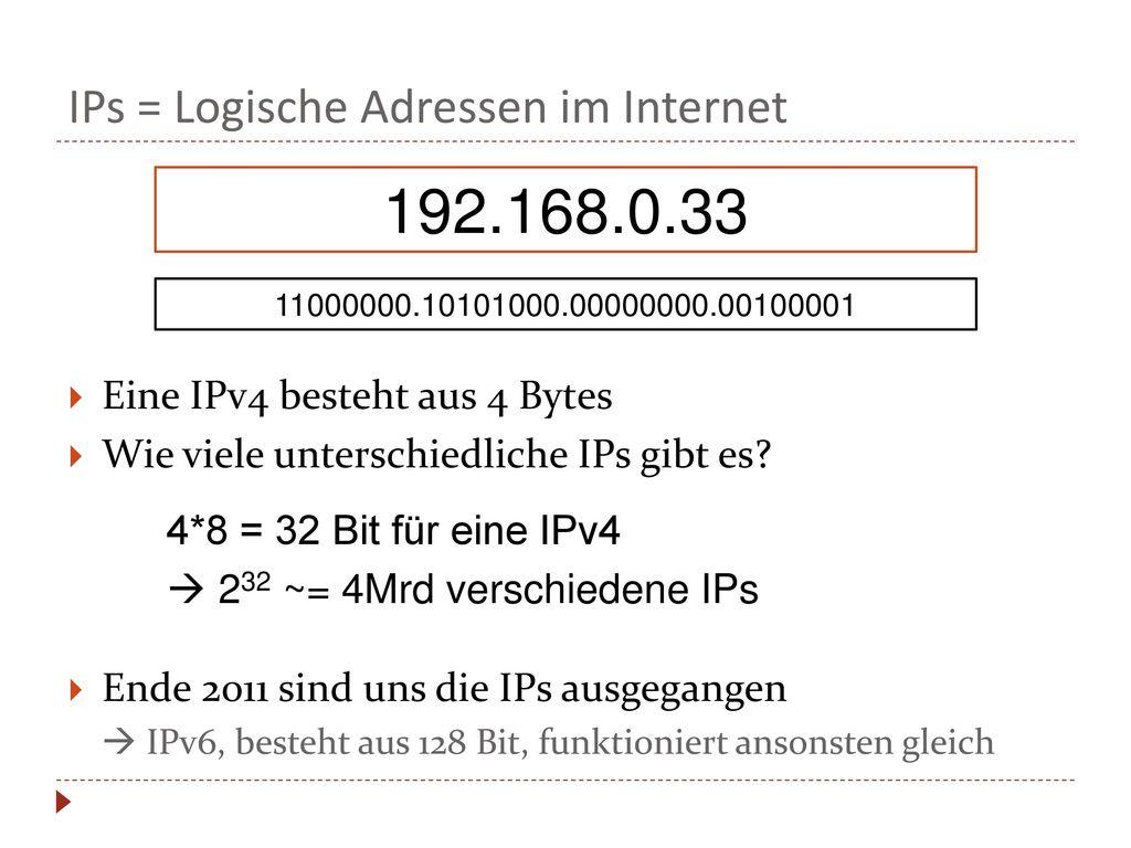 IPs = Logische Adressen im Internet