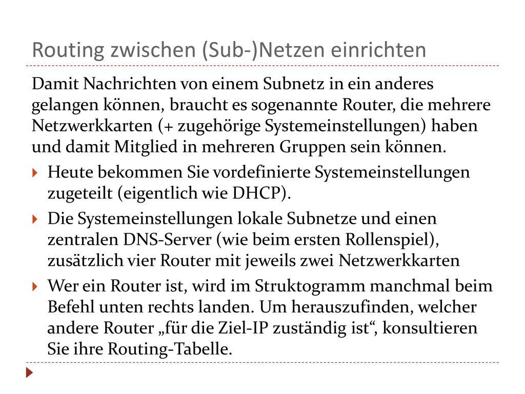 Routing zwischen (Sub-)Netzen einrichten
