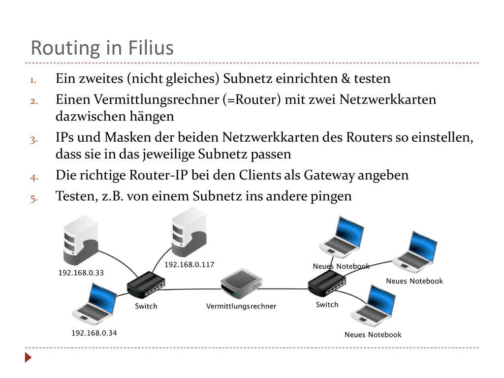 Routing in Filius Ein zweites (nicht gleiches) Subnetz einrichten & testen.