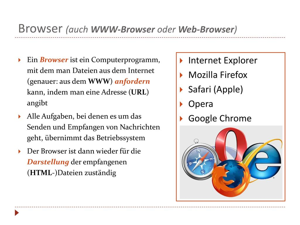 Browser (auch WWW-Browser oder Web-Browser)