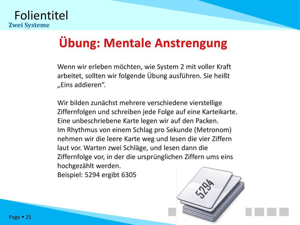 Übung: Mentale Anstrengung