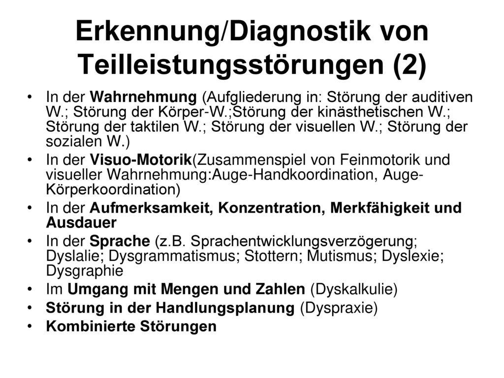 Erkennung/Diagnostik von Teilleistungsstörungen (2)