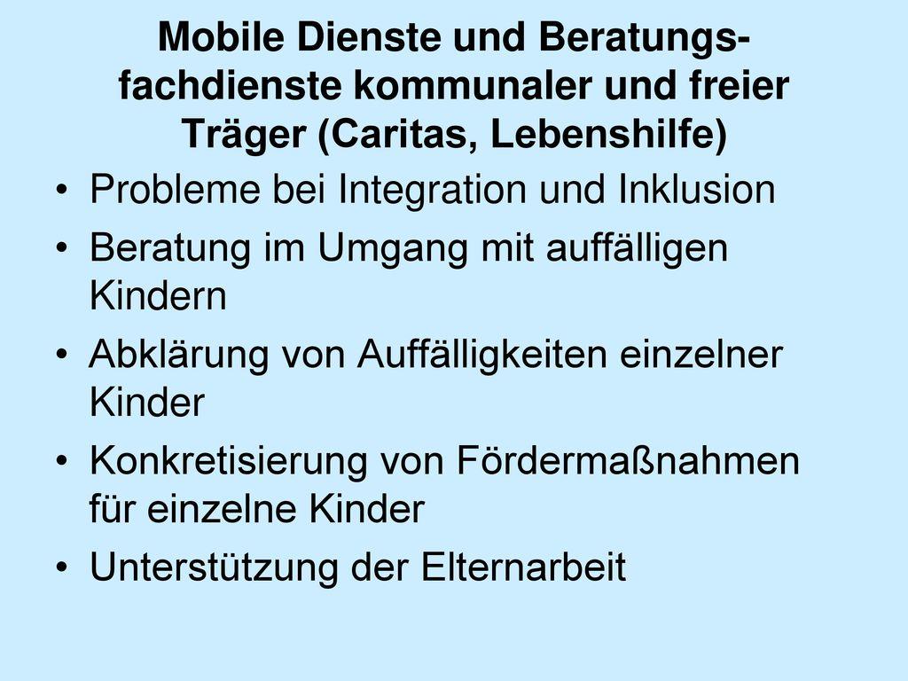 Mobile Dienste und Beratungs-fachdienste kommunaler und freier Träger (Caritas, Lebenshilfe)