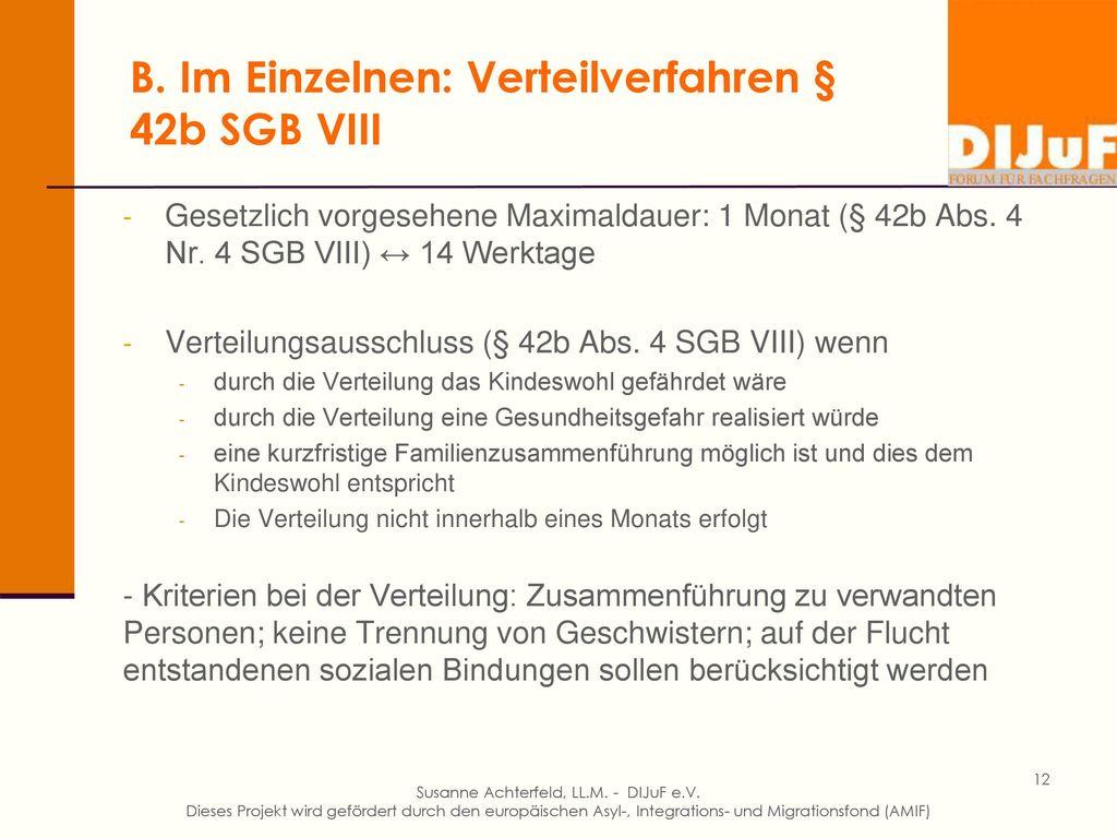 B. Im Einzelnen: Verteilverfahren § 42b SGB VIII
