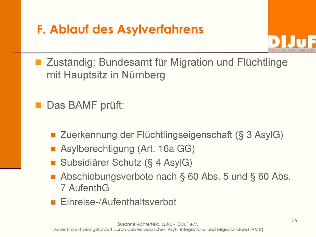 F. Ablauf des Asylverfahrens