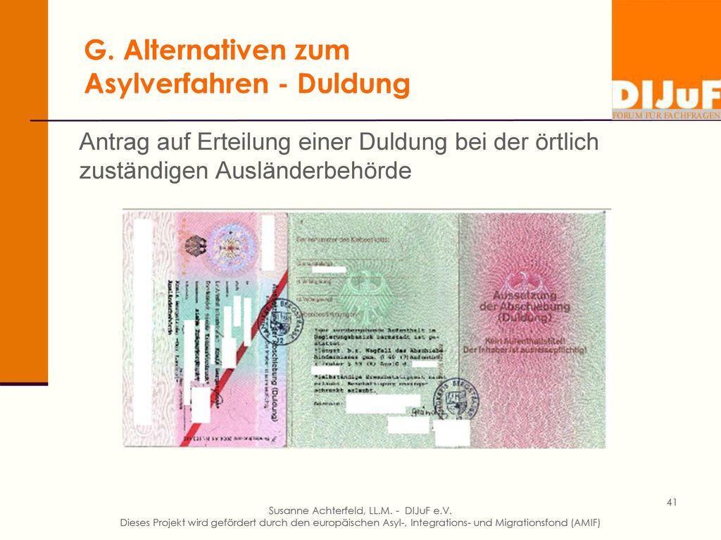 G. Alternativen zum Asylverfahren
