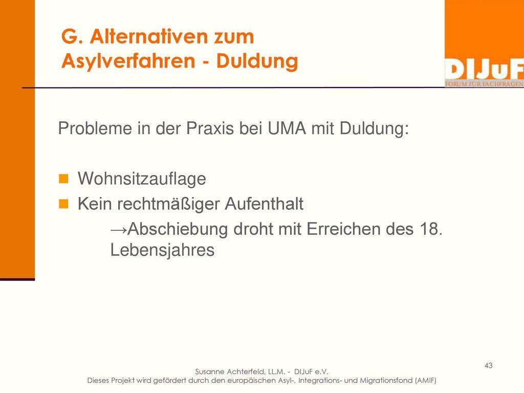 G. Alternativen zum Asylverfahren - Duldung