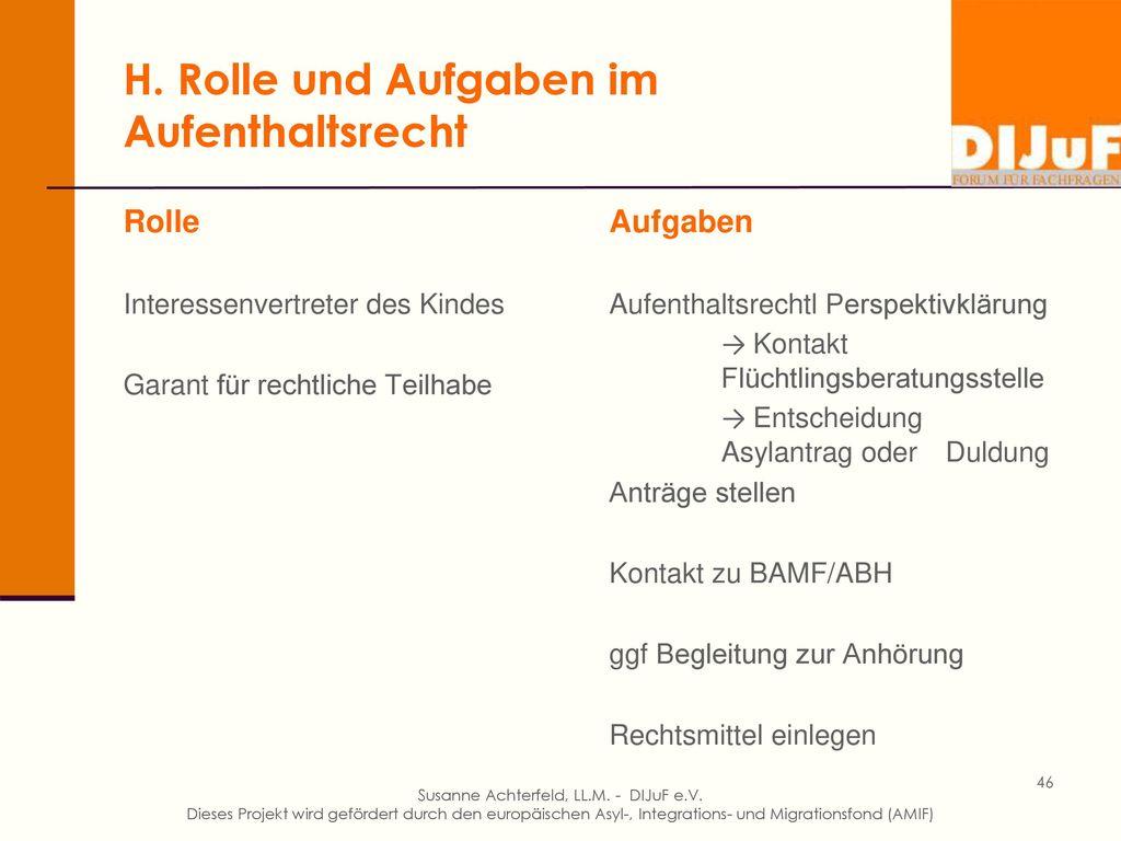 H. Rolle und Aufgaben des Vormunds im Asylverfahren und Verfahren gegenüber der ABH