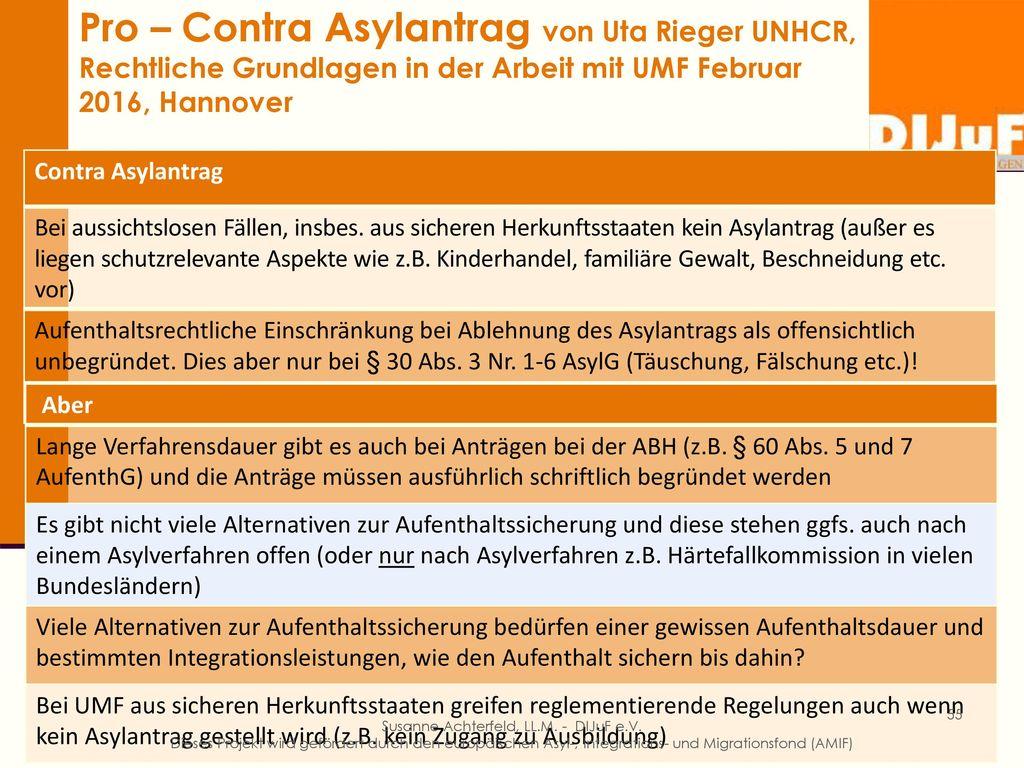 Pro – Contra Asylantrag von Uta Rieger UNHCR, Rechtliche Grundlagen in der Arbeit mit UMF Februar 2016, Hannover